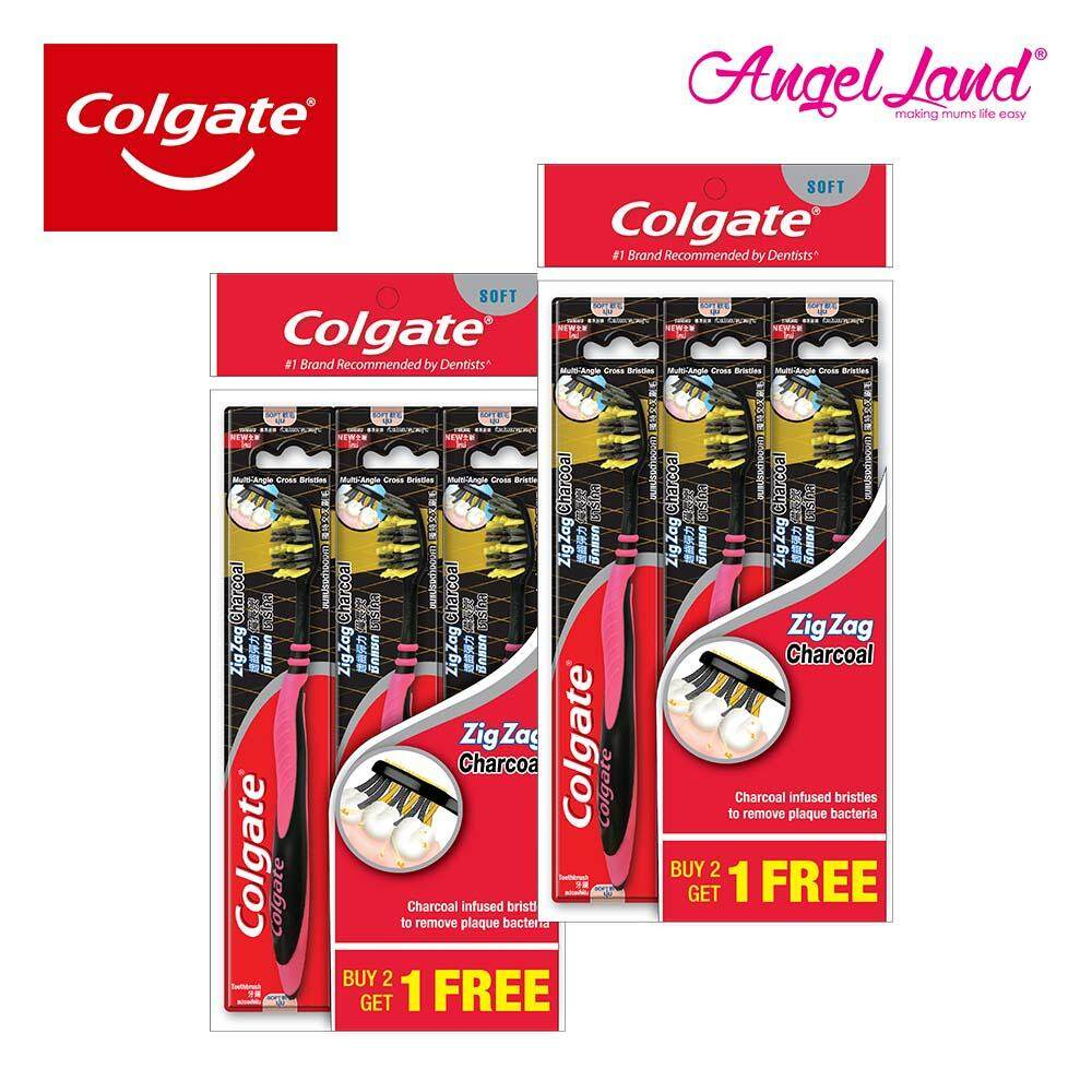 Colgate ZigZag Charcoal Toothbrush Valuepack 3s [Best Buy 2 Packs] - 1120648