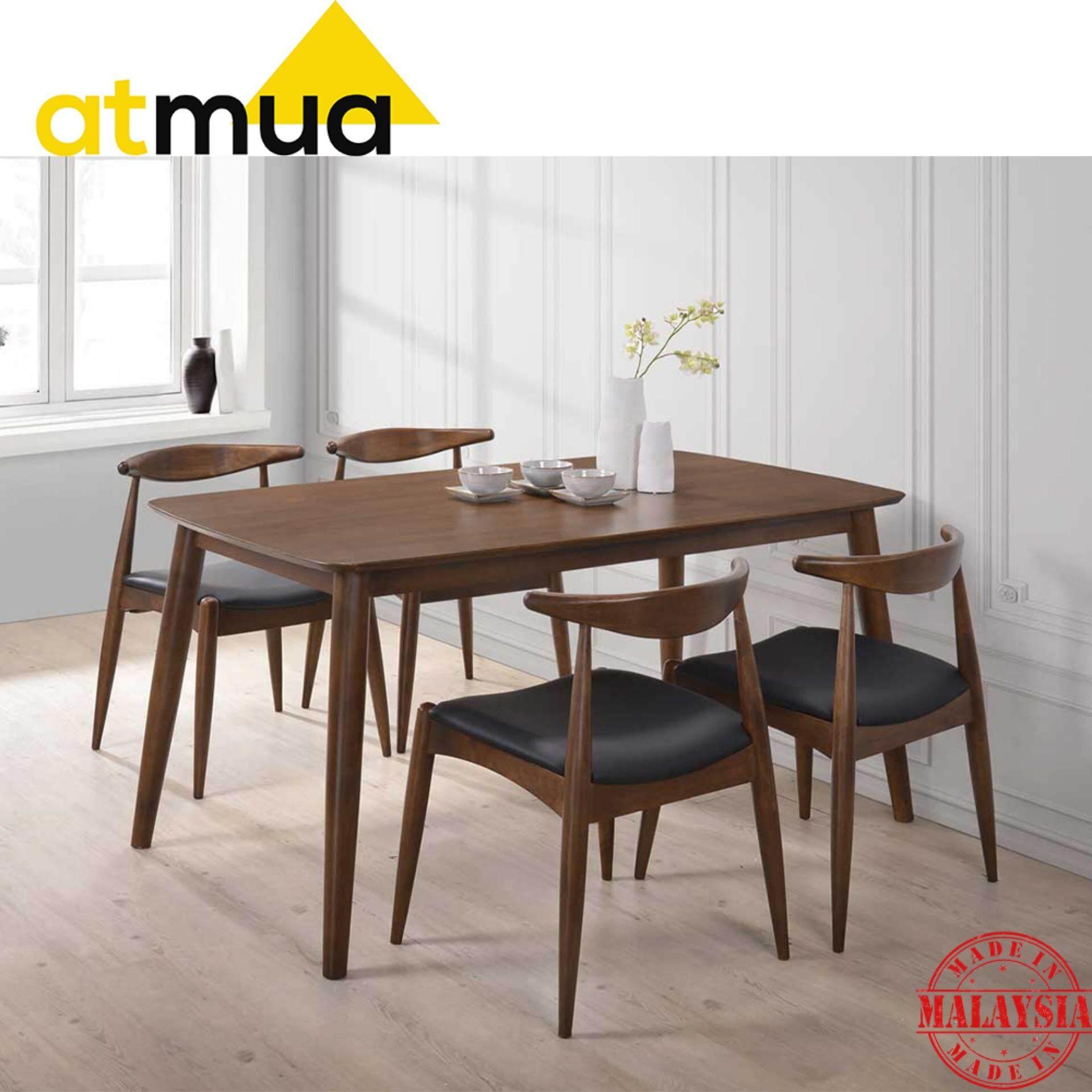 Atmua Olim Scandinavian Dining Set (1 Table + 4 Chairs) - Scandinavian Style [Full Solid Wood]