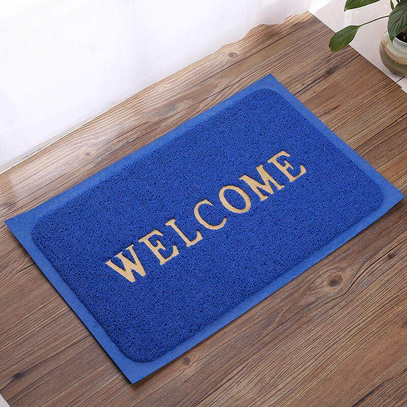 (LZ) WELCOME Door Mat Anti-Slip Pad Embossed Edging Coil (50 x 70 CM)