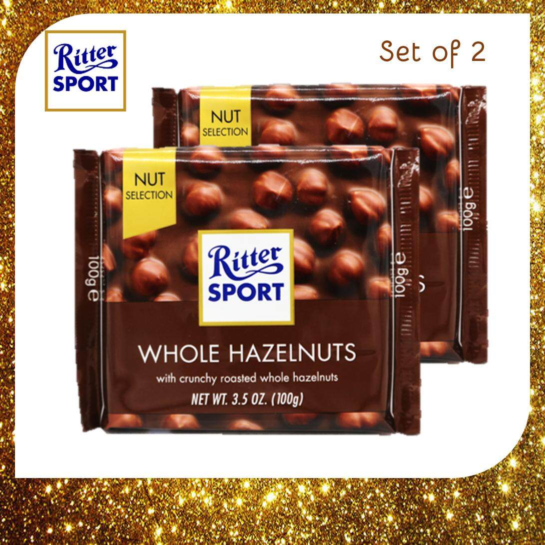 Ritter Sport Whole Hazelnuts Set of 2 (2 x 100g) [Ice Cold Packs Included]
