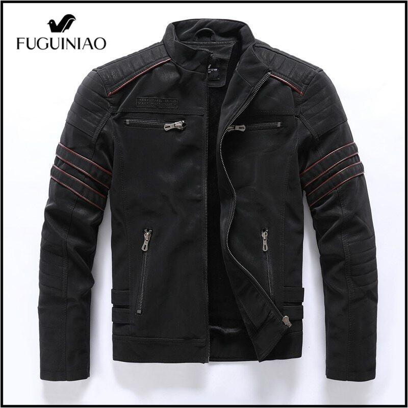 FUGUINIAO 2021ฤดูใบไม้ร่วงฤดูหนาวชายเสื้อหนังลำลองปกแฟชั่นยืนแจ็คเก็ตรถจักรยานยนต์ผู้ชาย Slim หนังพียูคุณภาพสูง Coats