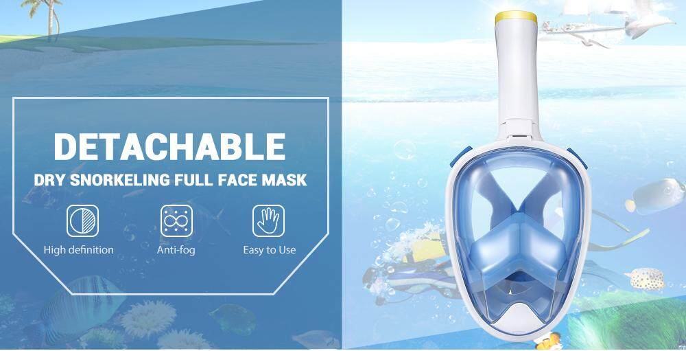 DIVING TRAINING ANTI-FOG DETACHABLE DRY SNORKELING FULL FACE MASK SET FOR SPORTS CAMERA
