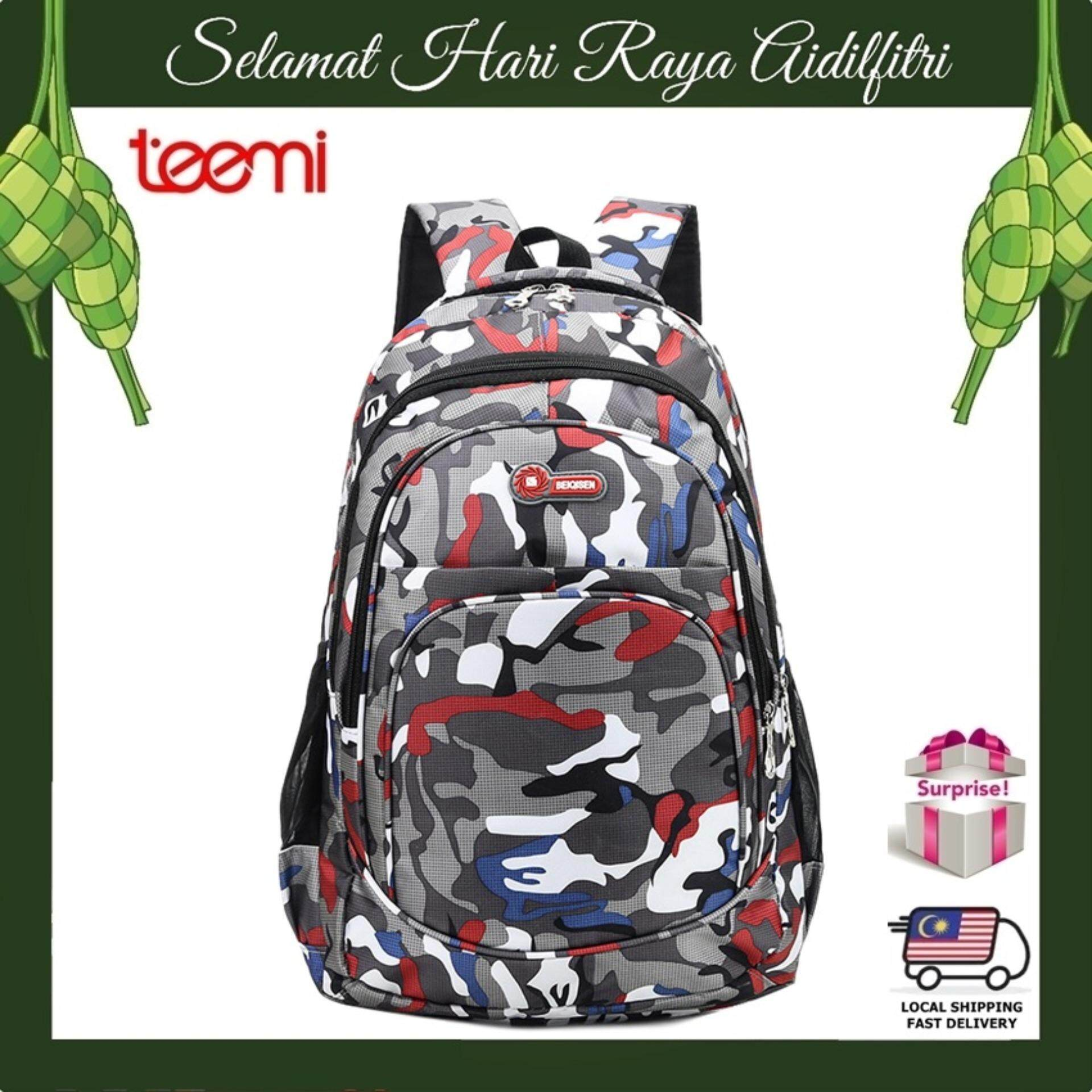 TEEMI Unisex Backpack Modern Army Camouflage Forest Stripe Printing Water Resistant Nylon Sports Laptop Travel Outdoor Leisure Teenager College Bag - Red