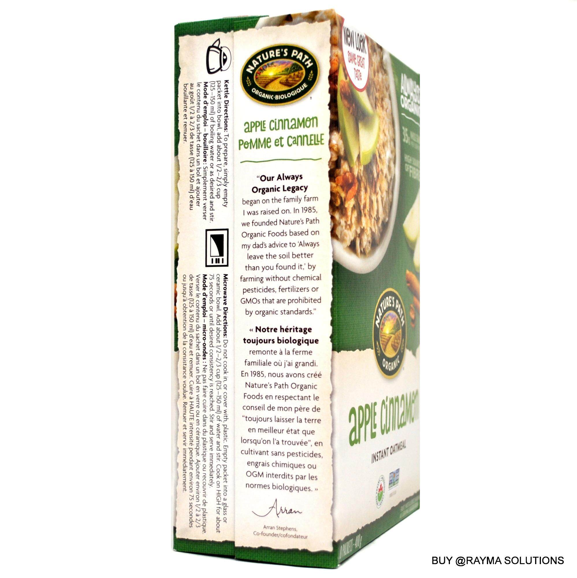 NATURE'S PATH ORGANIC Apple Cinnamon Instant Oatmeal, 400g
