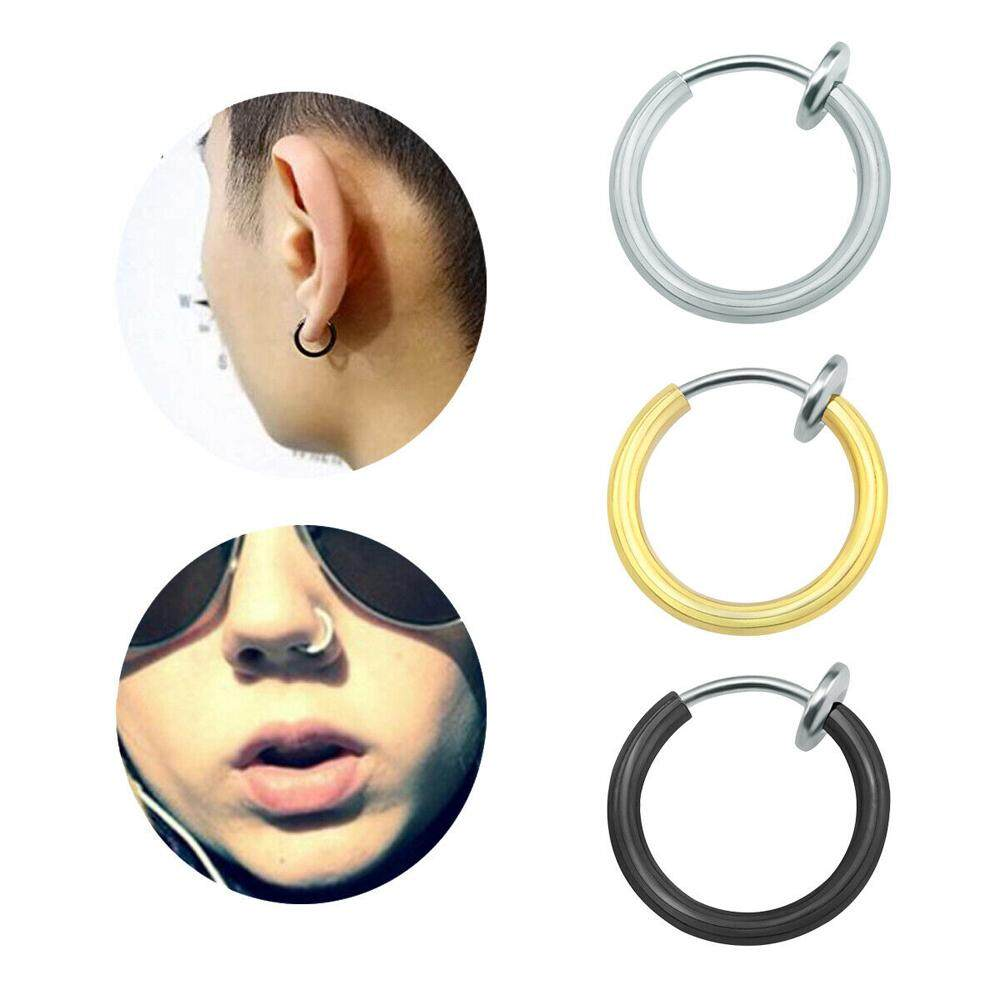 1 Pc Punk Fake Piercing Small Circle Hoop Earrings Clip On Nose