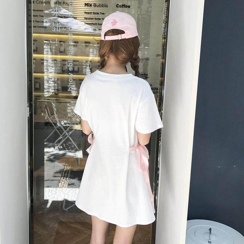 (PRE ORDER) WOMEN BOW TIE T-SHIRT LONG WAIST SHORT SLEEVE DRESS