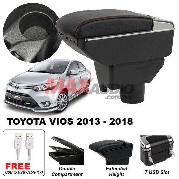 [FREE GIFT] TOYOTA VIOS 2014 - 2018 Premium Quality Adjustable Black Leather With Red Stitch Arm Rest with USB Charger Extension & Cup Holder