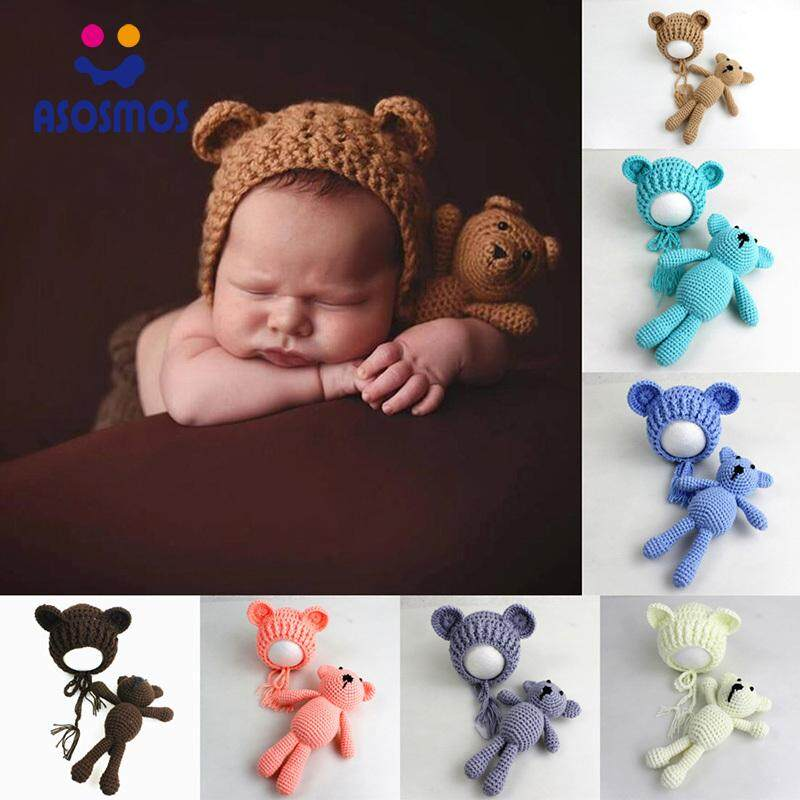b50df90fc ASM Photography Prop Weaving Hat Cap Bear Toy Crochet Knit For Newborn Baby  Girl Boy