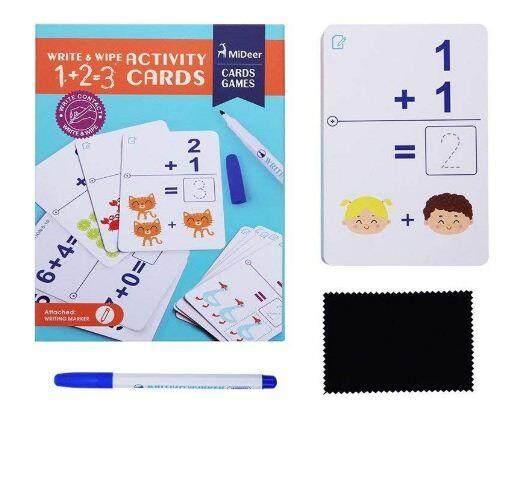 Mideer write & wipe Activity CArds - 1 + 2 = 3 baby toys