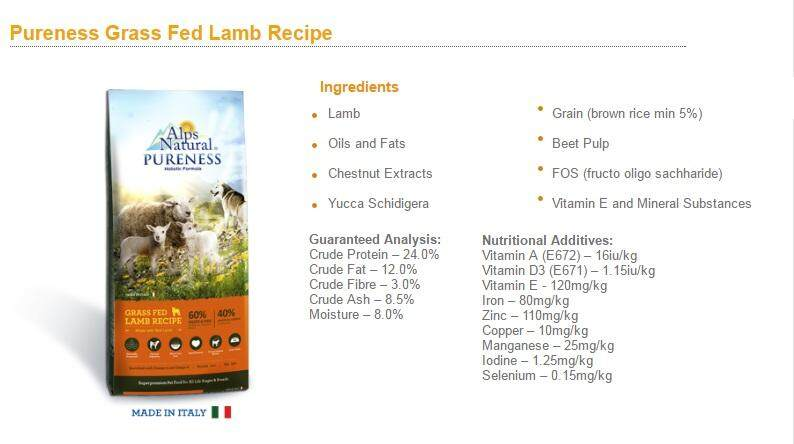ALPS Natural Pureness Grass Fed Lamb Recipe Dry Dog Food 13kg