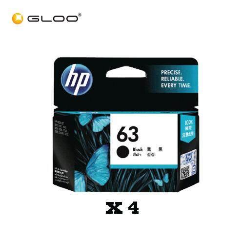 [4 Units] HP 63 Black Original Ink Advantage Cartridge F6U62AA
