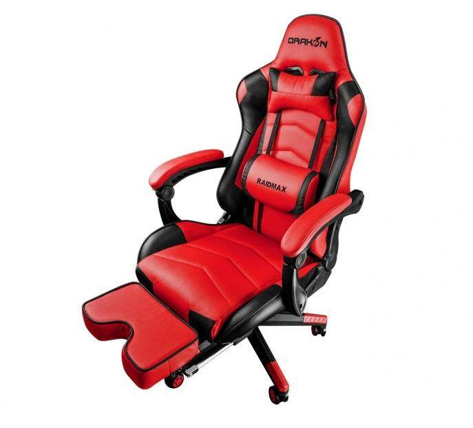 Raidmax Drakon DK709 Racing Gaming Chair with Adjustable Pillow Lift Seat High Back Swivel Chair 4D Armrest Removable Footrest PU Leather