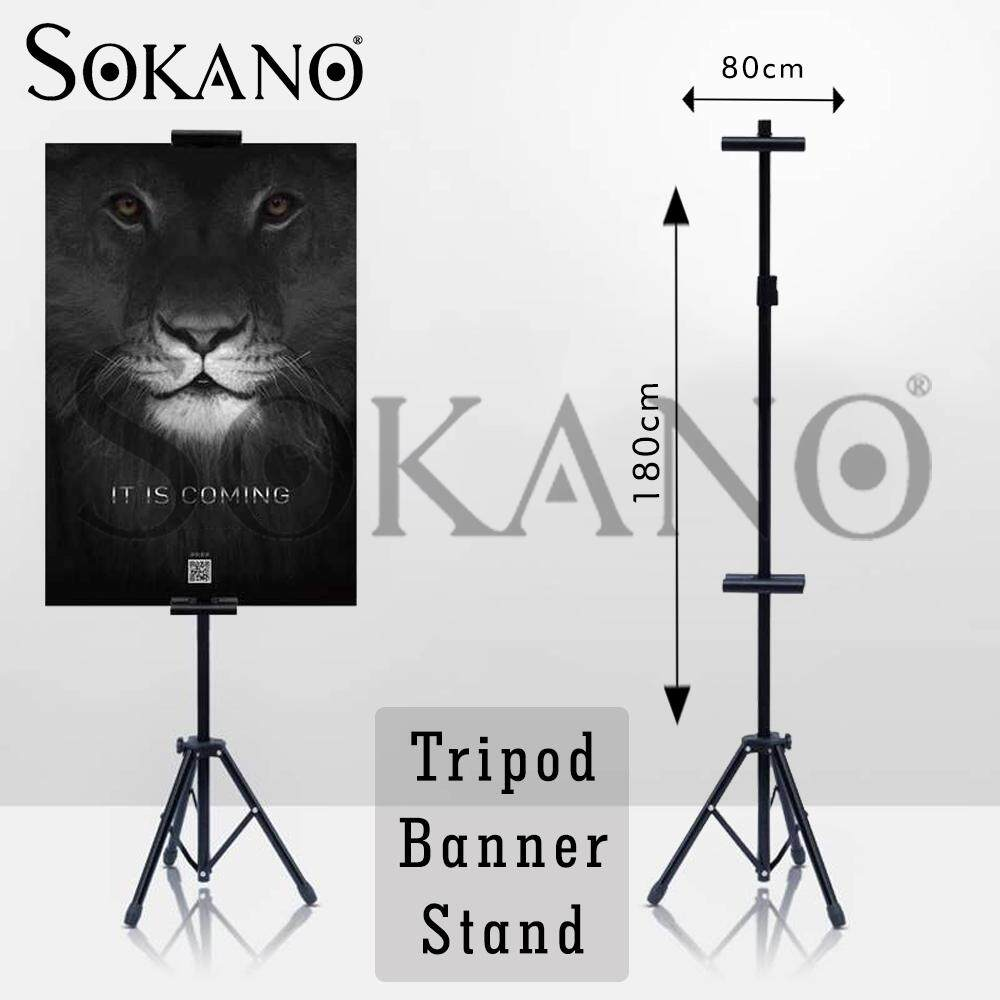 SOKANO Tripod Banner Stand Adjustable Banner Bunting Poster Tripod Stand Double Sided Clip