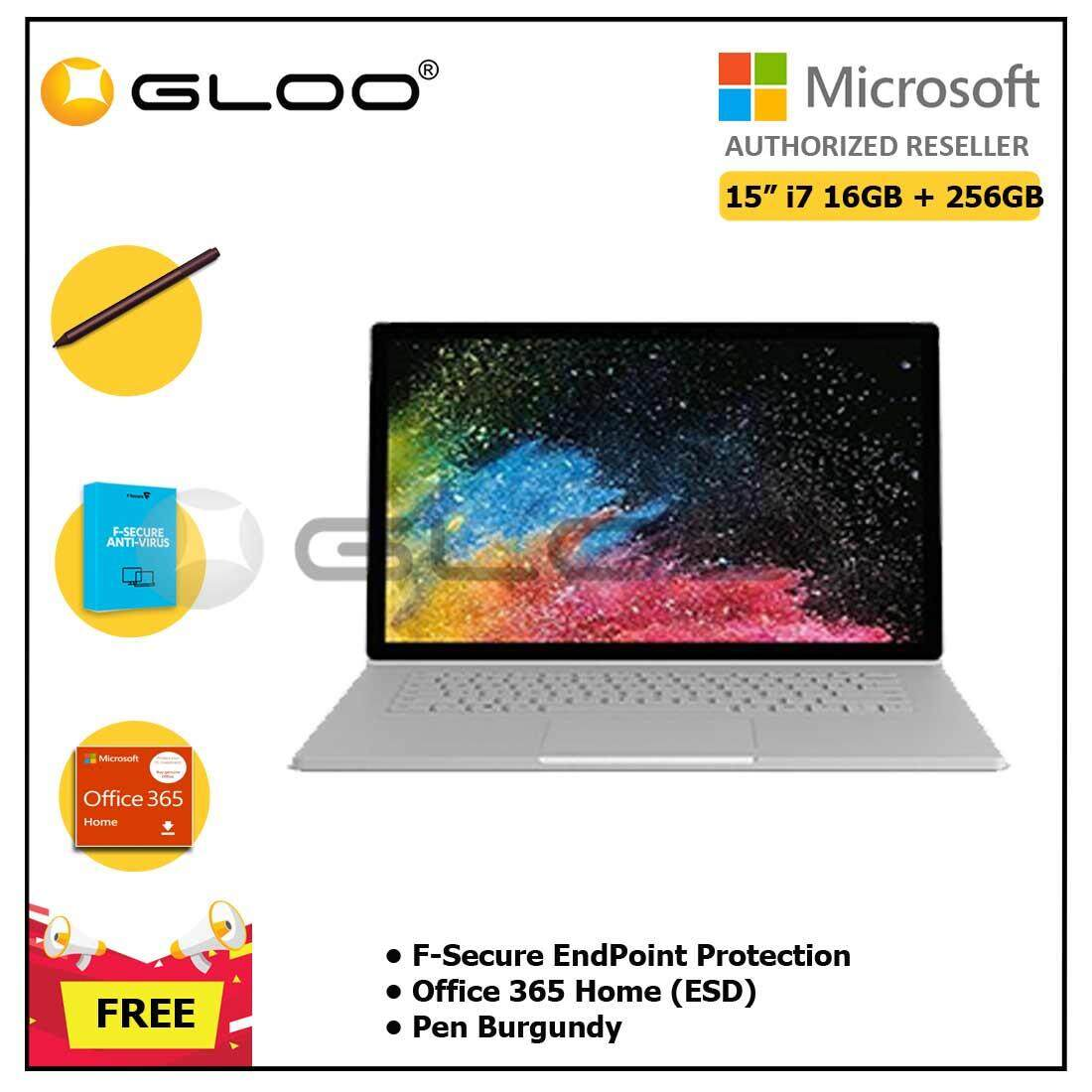 """Microsoft Surface Book 2 15"""" i7/16GB 256GB + F-Secure EndPoint Protection + Office 365 Home ESD + Pen Burgundy"""