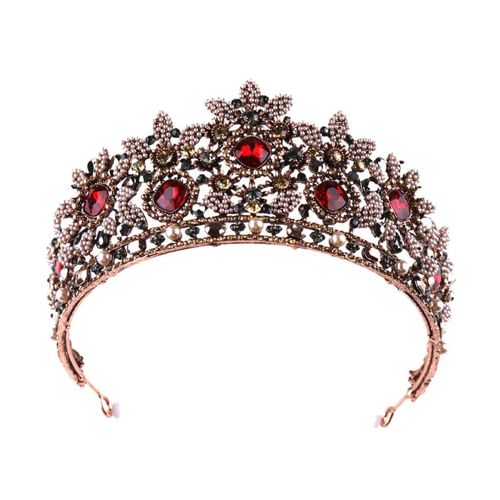Detail Gambar Mahkota Penuh Diamond Merah Zircon Bunga Buka Bulang Headband Perhiasan Perempuan 2019 Penjualan Terlaris Membebaskan Terbaru