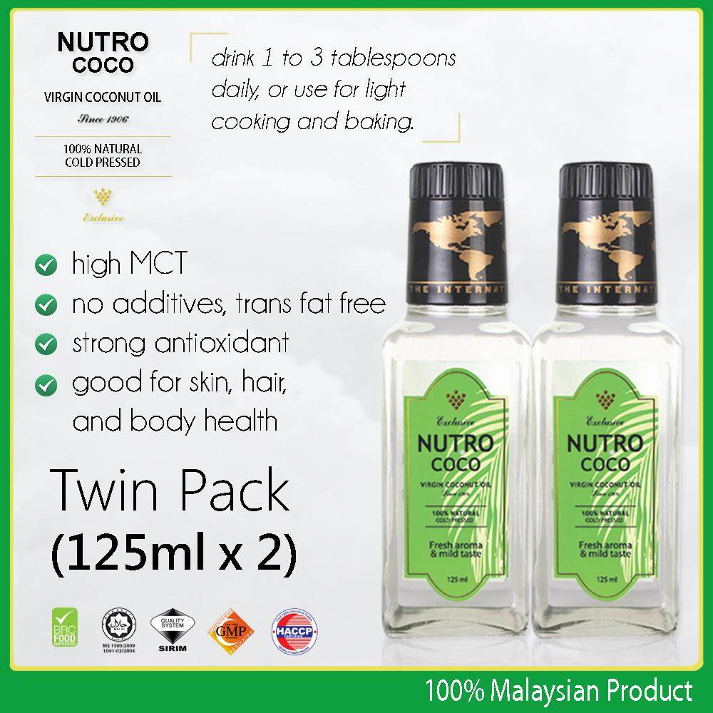 Nutrococo Virgin Coconut Oil 125ml Twin Pack cold pressed 100% natural exclusive made in Malaysia