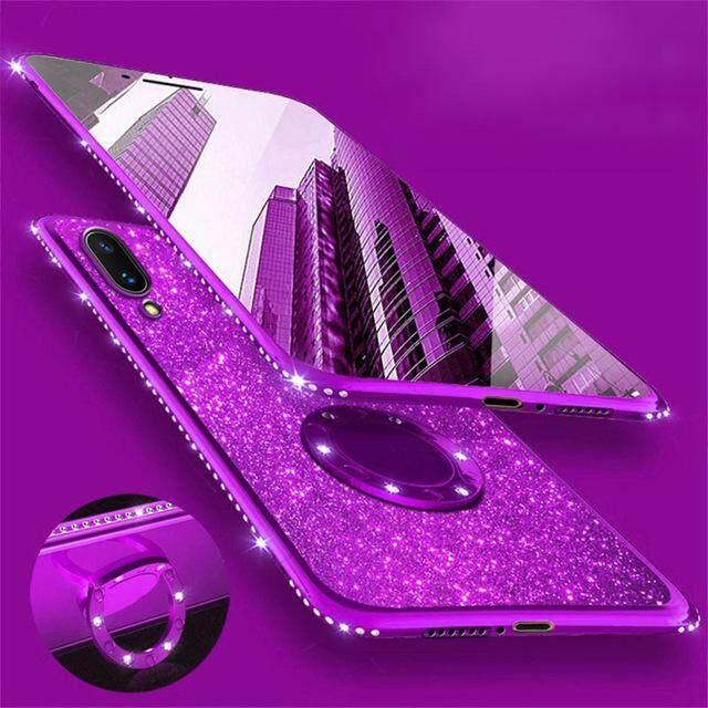 สุดยอดสินค้า!! MarkCase สำหรับ Vivo Y91/Y95 กลิตเตอร์วิบวับนุ่มเคสโทรศัพท์ที่มี 3D 360 องศาหมุนแหวน Kickstand Holder TPU ที่คลุมเรืองแสง