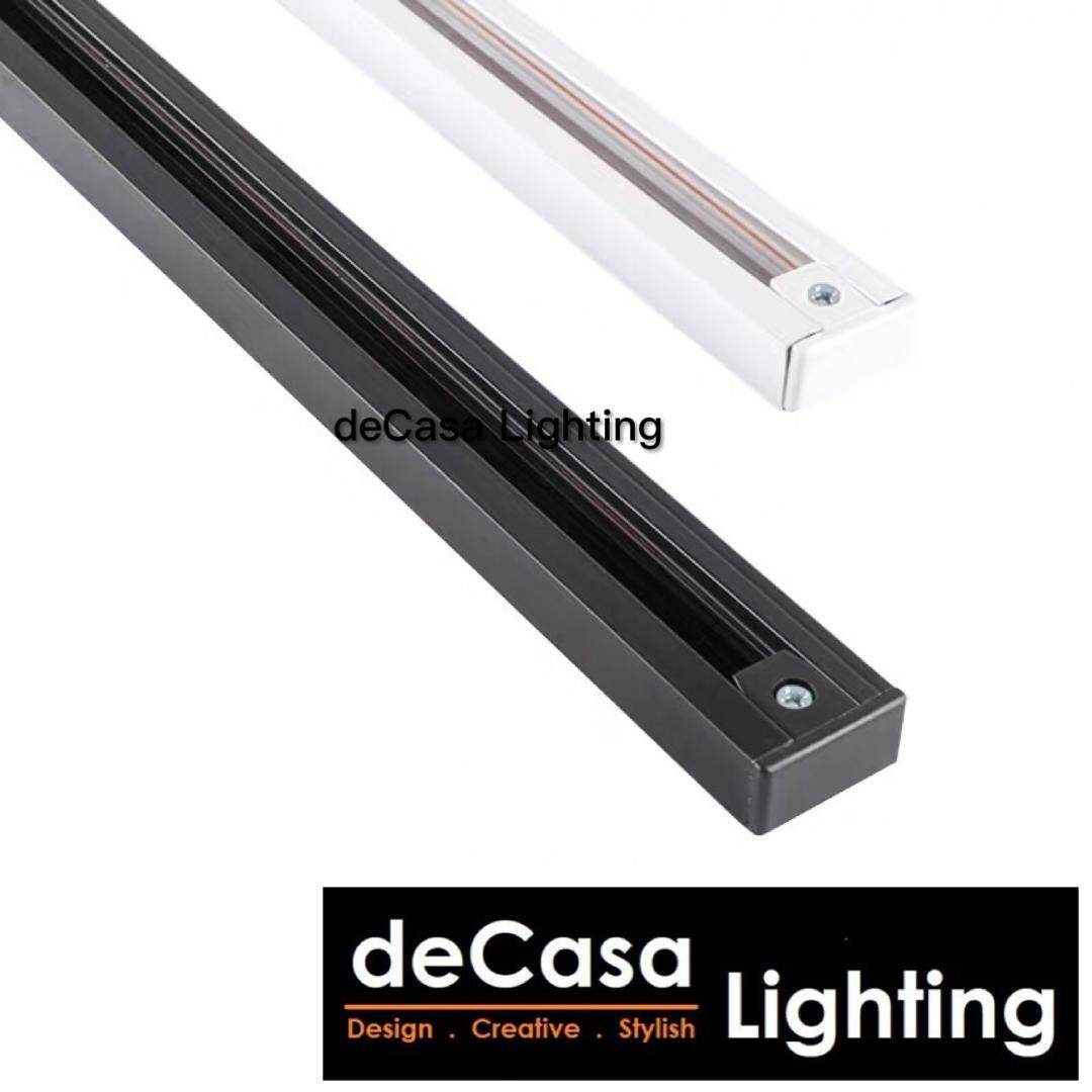 1M Track Rail for Track Light Decasa Lighting Track Joint for L and I shape Track Light Railing Frame Fitting Track Black / White for Track Lights Lampu Siling (MZG-1M-TRACK)