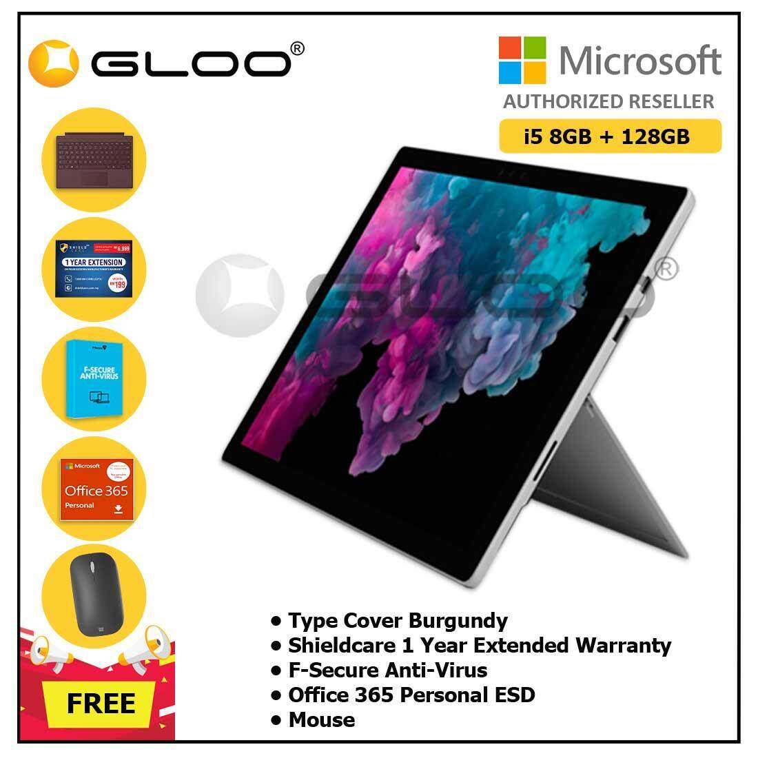 Microsoft Surface Pro 6 Core i5/8GB RAM -128GB + Type Cover Burgundy + Office 365 Personal (ESD) + Shieldcare 1 Year Extended Warranty + F-Secure EndPoint Protection + Mouse