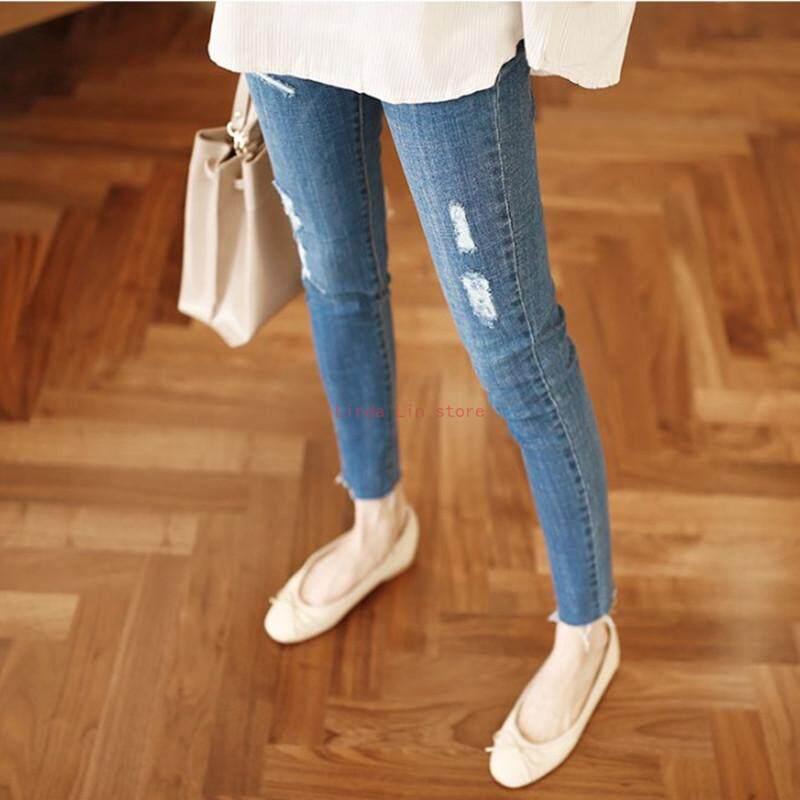 Detail Gambar Lls Musim Gugur Baru Pakaian Ibu Hamil Sembilan Poin Lubang Jeans Wanita Hamil Slim Kaki Celana Versi Korea Perut Celana Panjang Pengangkat ...