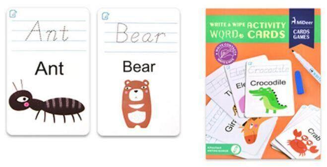 Mideer Write & Wipe Activity Cards - Word baby toys
