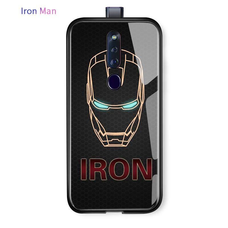 ลดสุดๆ Iron Man แฟชั่นกันกระแทกกระจกเทมเปอร์เคสโทรศัพท์สำหรับ OPPO F11 Pro กรณี TPU HERO Spider MAN ปลอก