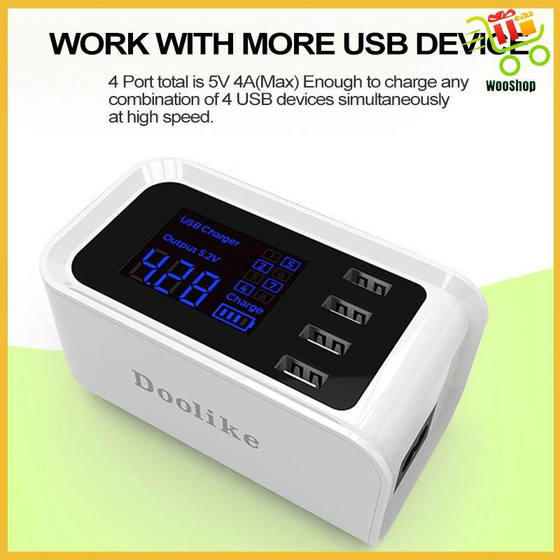 Doolike 4 Ports Travel Charger With LED Display Charging Station Power Adapter