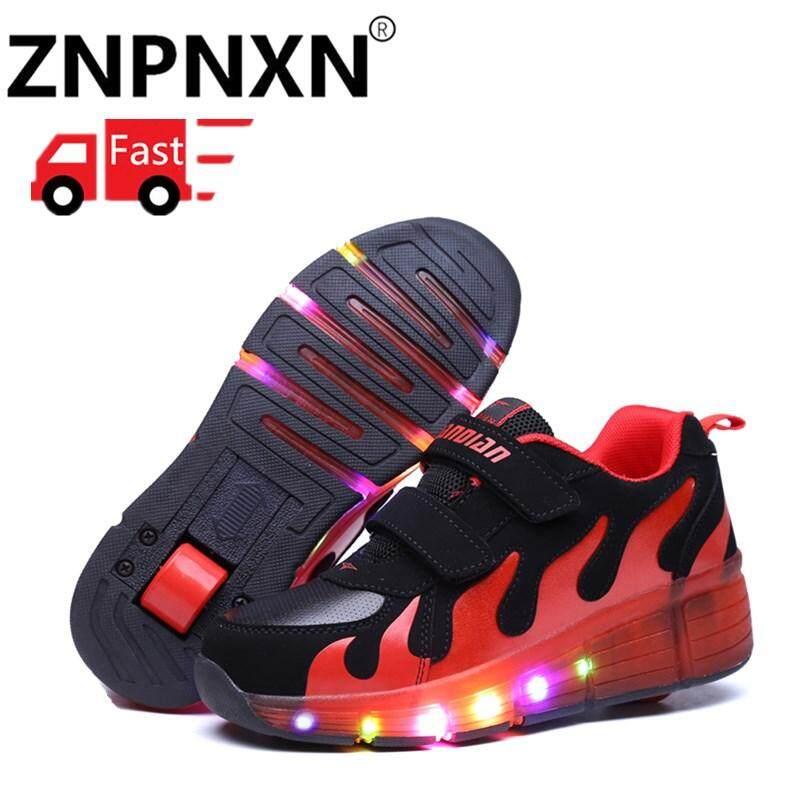 Znpnxn Anak Heelys Sepatu Kets Lampu LED dengan Satu Roda Dua Anak Laki-laki 97cde669c4