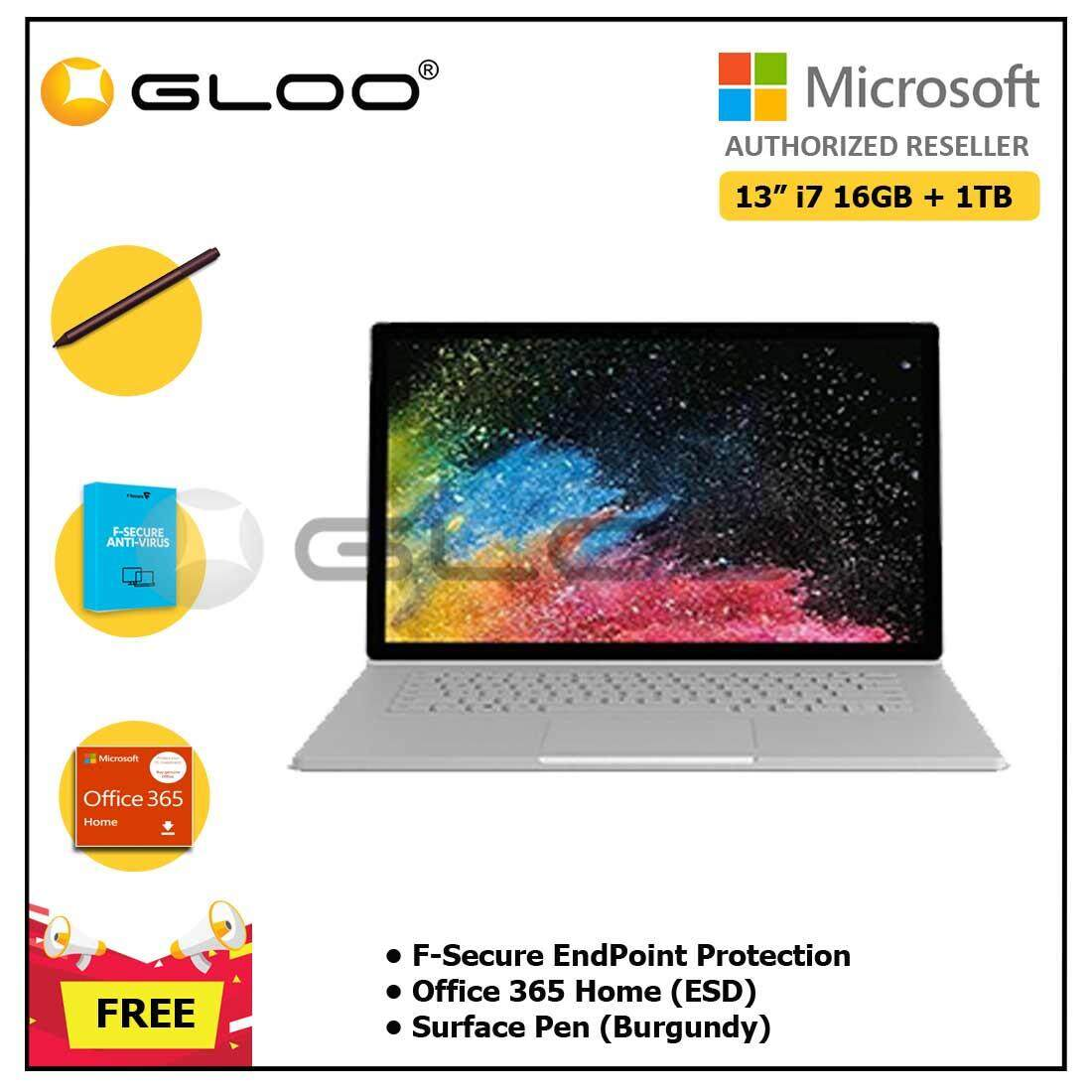 """Microsoft Surface Book 2 13"""" Core i7/16GB RAM - 1TB + F-Secure EndPoint Protection + Office 365 Home ESD + Pen Burgundy"""