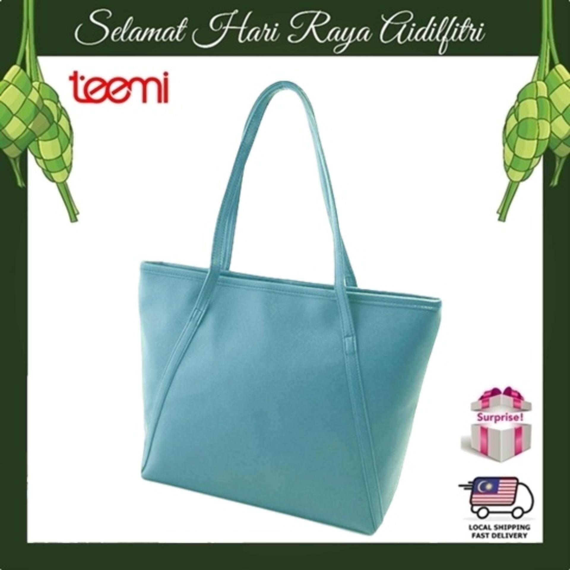 TEEMI Elegant Korean Style PU Leather Large Tote Bag Women Handbag Shoulder Shopper Bag - Light Blue