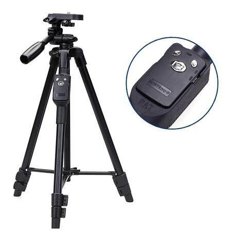 Yunteng VCT-5208 Aluminium Tripod Stand with 3 Way Head Mount Holder Bluetooth Remote Control for Phone and Camera
