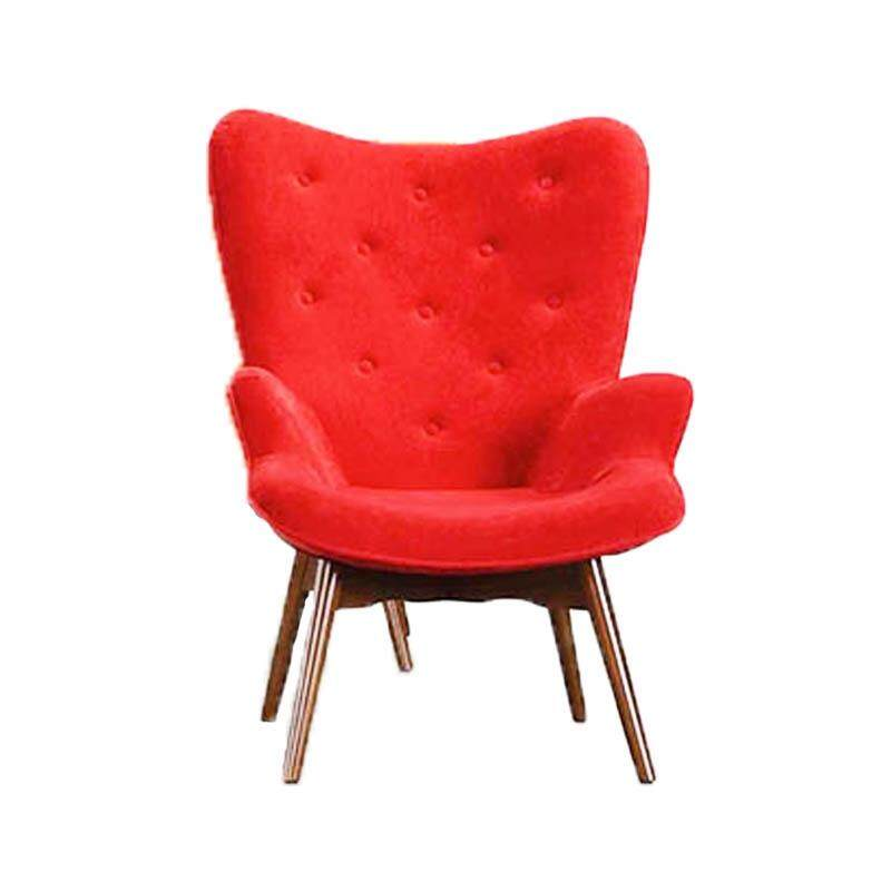 Designer Series G167 Patchwork Fabric Armchair with Beech Wood Legs (Red)