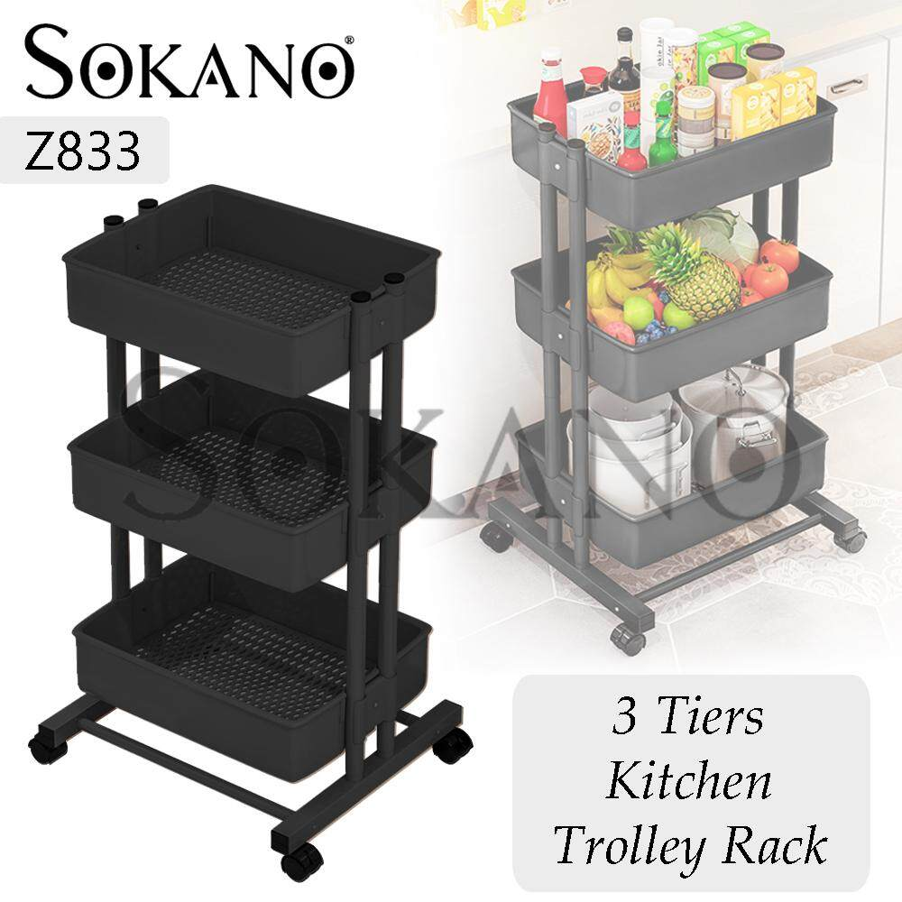 SOKANO Z833 3 Tiers Space Saver Shelves Kitchen Trolley Rack with Wheels Rak Dapur