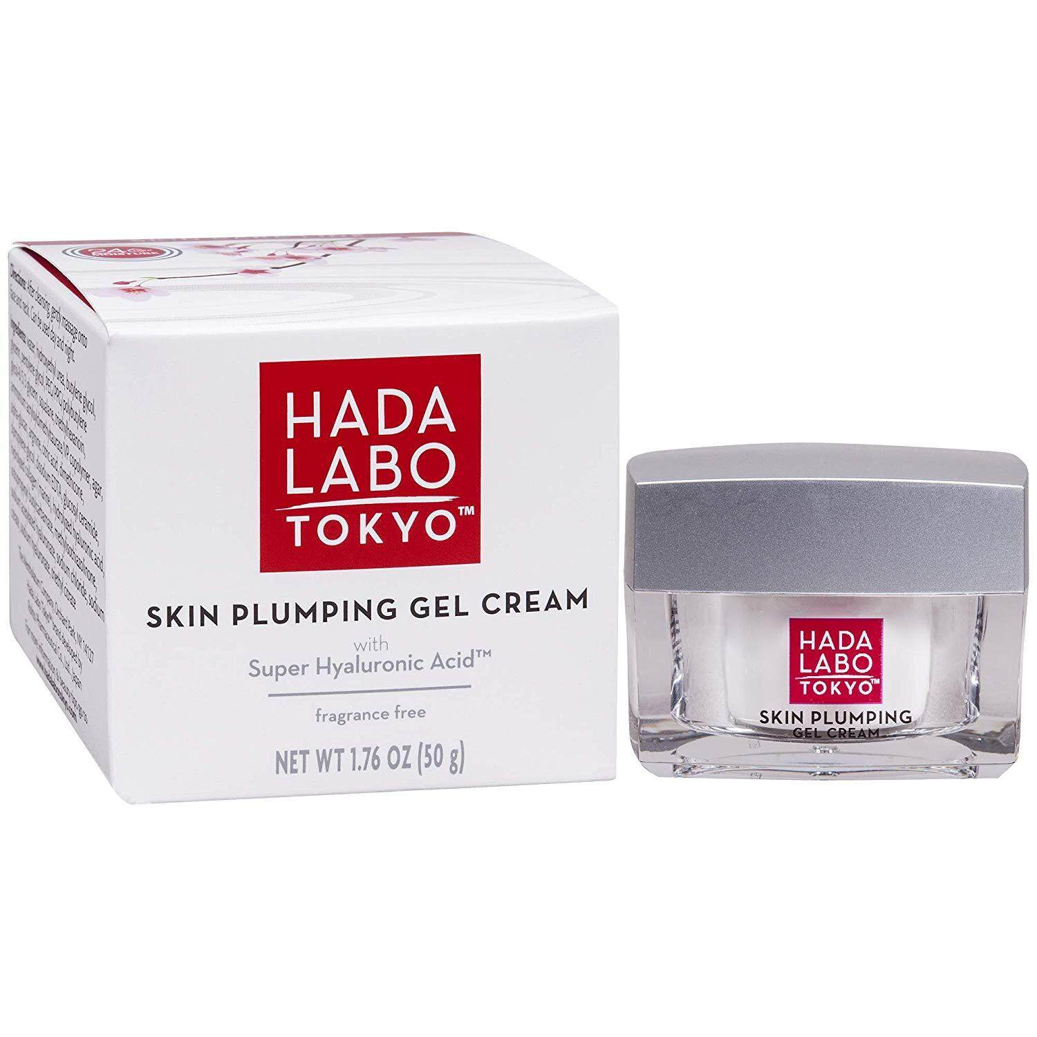 Hada Labo Tokyo Skin Plumping Gel Cream 1.76 FL OZ - with Super Hyaluronic Acid and Collagen - 24 Hour Moisture & Visible Line Plumping fragrance and paraben free non-comedogenic (Packaging May Vary)