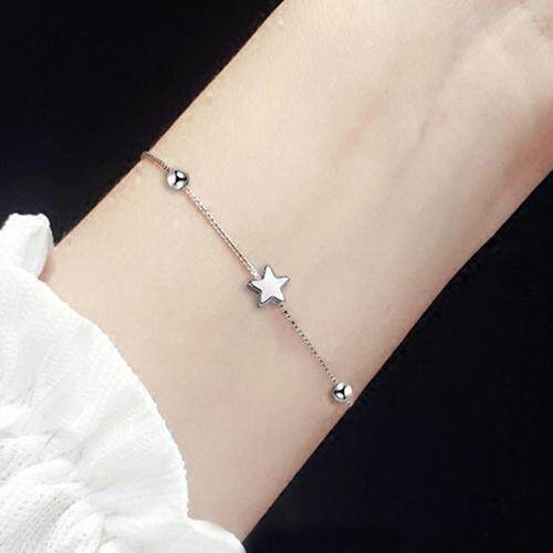 925 perak murni gelang Persegi Jepang Korea gaya gadis Bintang Lima kepribadian minimalis Gelang Elegan hadiah - 5