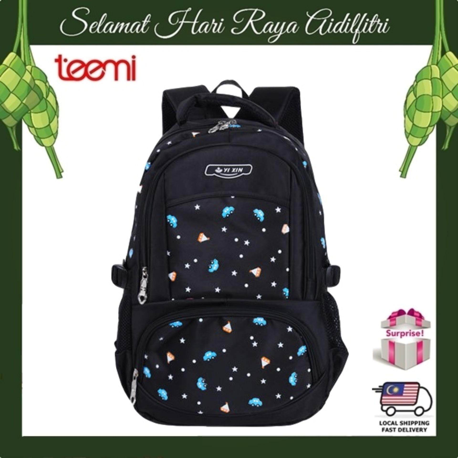 【TEEMI】 Girls Candy Color Primary Secondary Water Resistant Girlish Ergonomic Orthopedic School Bag Kids Children Laptop Backpack - Black