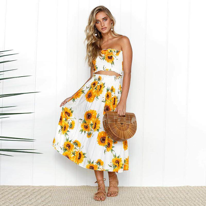 680d01993a8 Specifications of Women s Outfit Lemon Floral Printed Off The Shoulder Two  Piece Outfits Casual Dress Maxi Holiday Beach Dress Crop Top