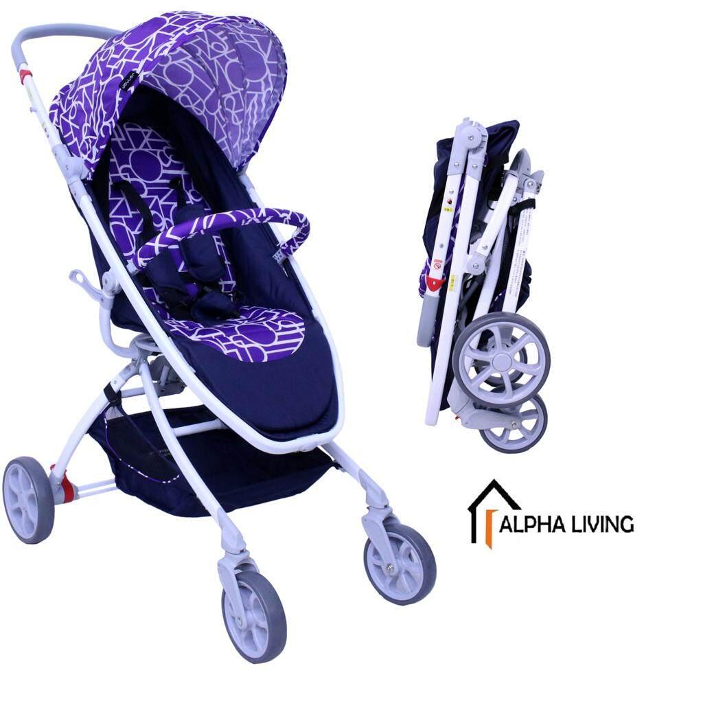 Alpha Living BAY0057 Travel Stroller 4 Wheel Folding High View Pram with Storage Basket (Red / Violet Variant)