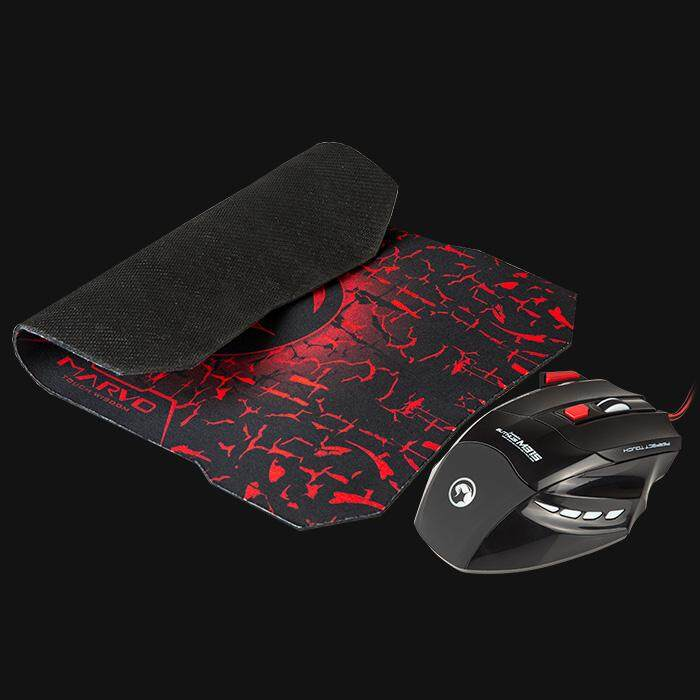 Marvo Scorpion M315 + G1 Gaming Optical Mouse and Cloth Mousepad Combo 7D 1600DPI 1.6m USB (Pad Size: 287 x 244 x 3 mm)