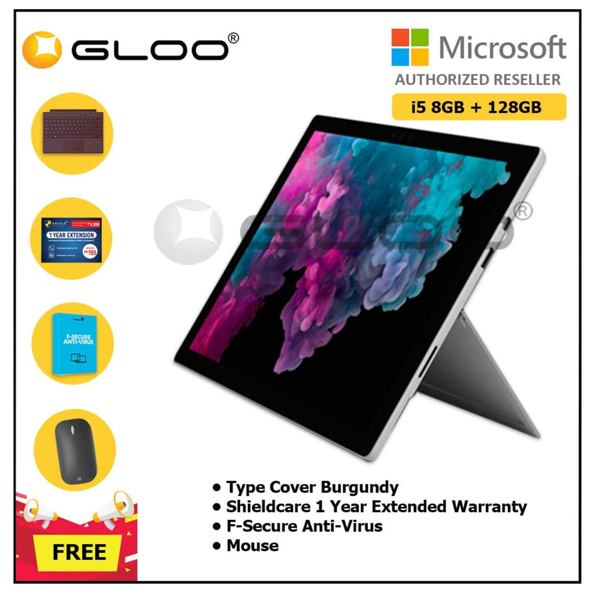 Microsoft Surface Pro 6 Core i5/8GB RAM -128GB + Type Cover Burgundy + Shieldcare 1 Year Extended Warranty + F-Secure EndPoint Protection + Mouse