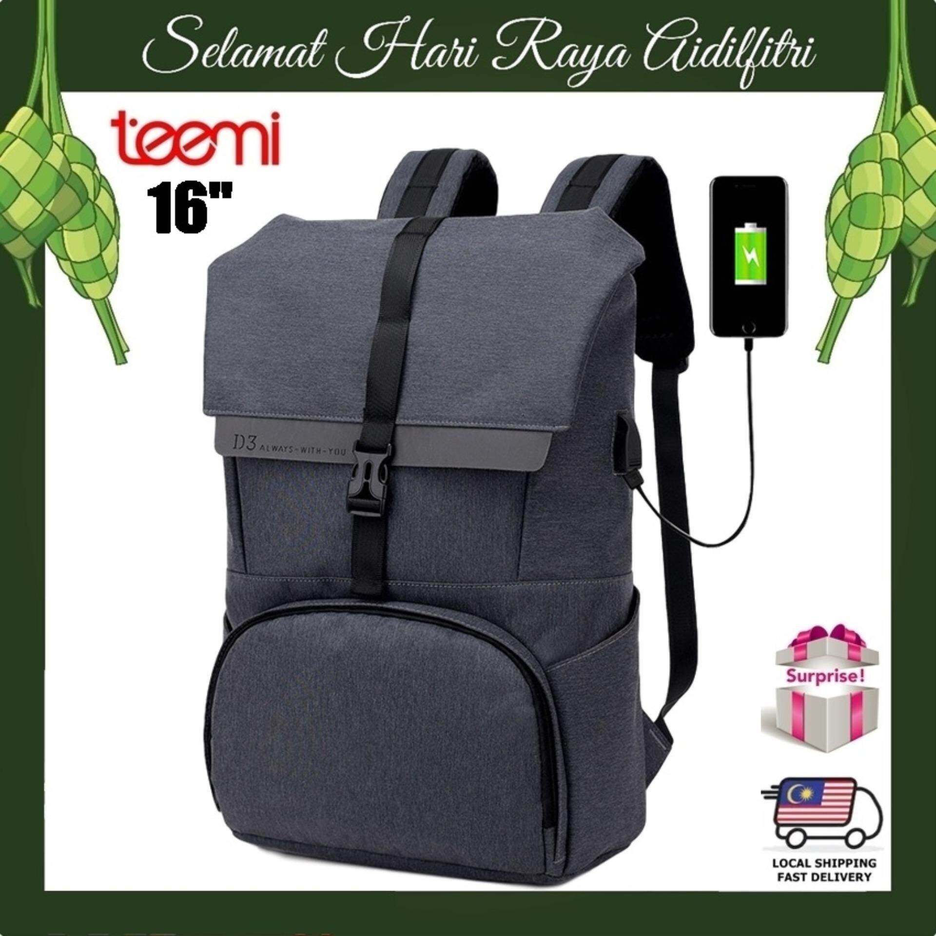 "TEEMI Flap Front Buckle USB Charging 16"" Laptop Minimalist Travel Backpack Water Resistant Outdoor Business Casual Bag"