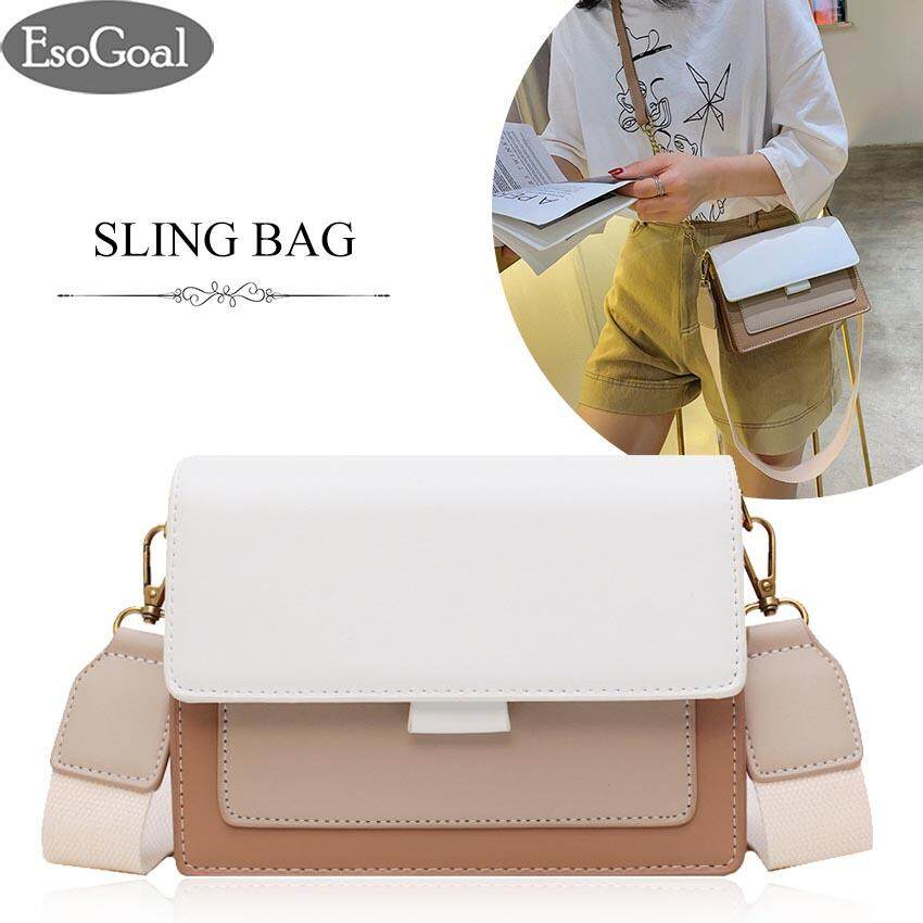 กระเป๋าเป้สะพายหลัง นักเรียน ผู้หญิง วัยรุ่น สมุทรสาคร EsoGoal กระเป๋าสะพาย กระเป๋าสะพายข้าง กระเป๋าแฟชั่น Korean Sling Bag Crossbody Bag Contrast color Shoulder Bag Women PU Leather Fashion Messenger Bag Ladies with Metal Chain and Strap