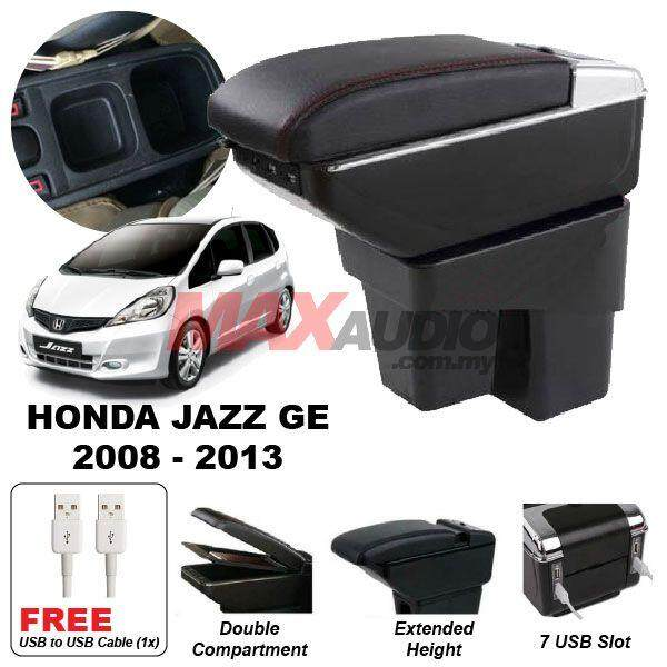 [FREE GIFT] HONDA JAZZ GE 2008 - 2013 Premium Quality Adjustable Black Leather With Red Stitch Arm Rest with USB Charger Extension & Cup Holder