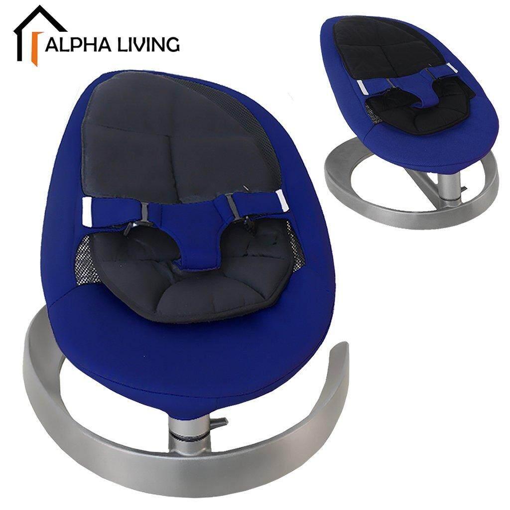 Alpha Living BAY0141BU Rocker Baby Cradle Easy Push and Swing Leaf Shape Baby Side Rocking Chair (Blue Variant)