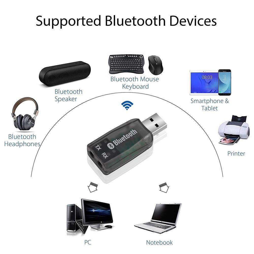 PORTABLE WIRELESS USB BLUETOOTH Transmitter Receiver Adapter Audio Dongle Black