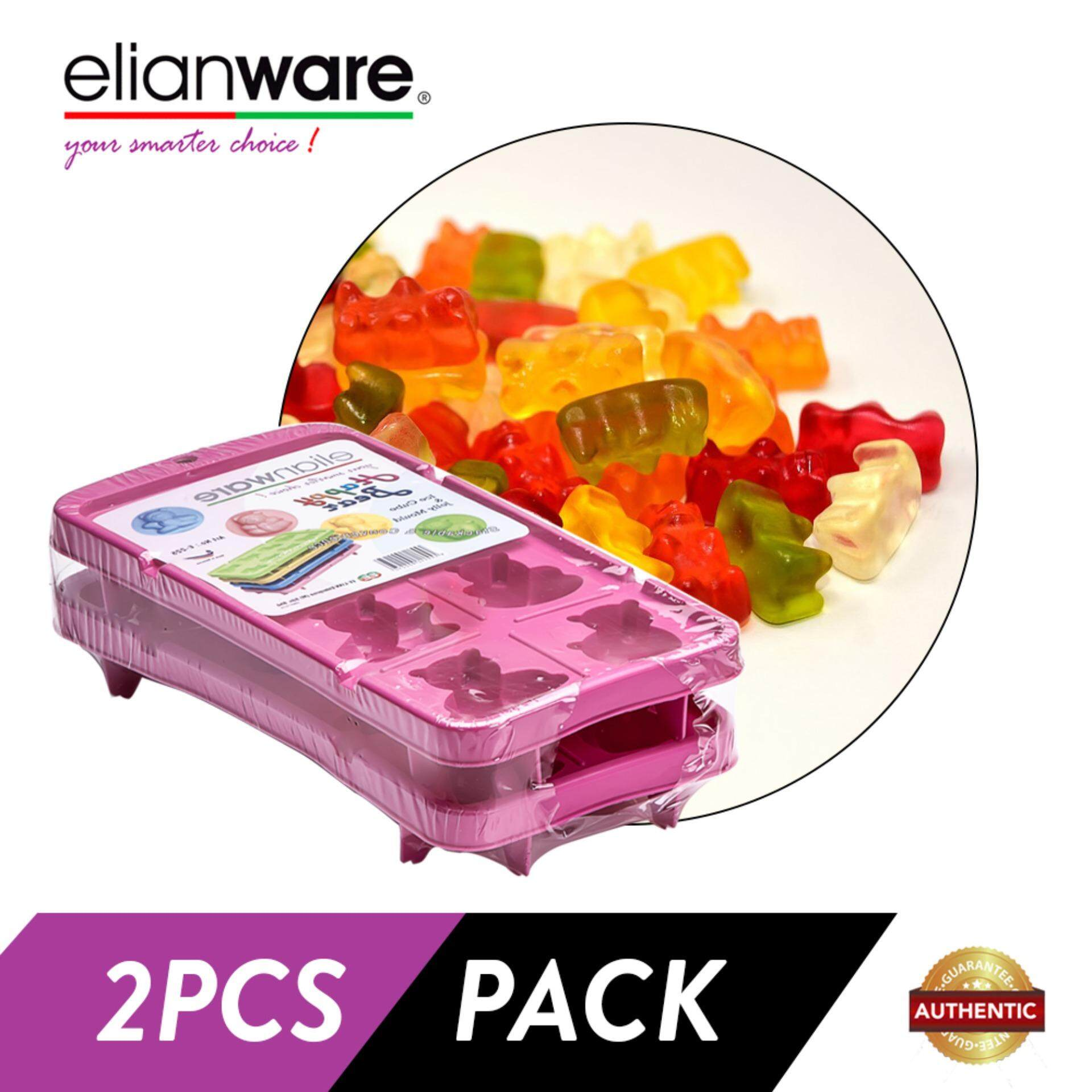 Elianware 2 Pcs Happy Bear Stackable Ice Cube and Jelly Mould BPA Free
