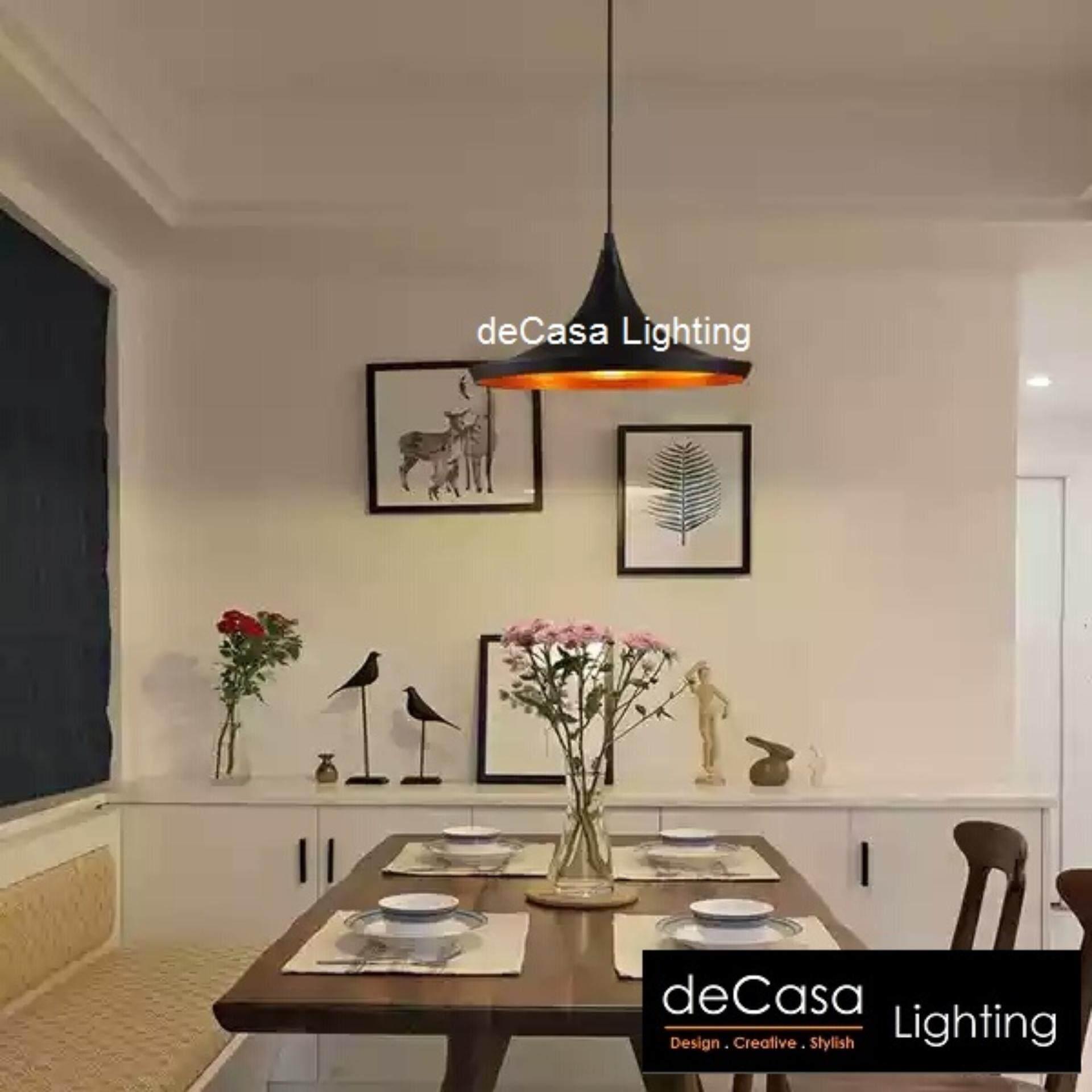 DECASA Modern Designer Decorative Tom Dixon Ceiling Light Pendant Light (Black) Type A (NSB-ZC1516-BK+GD-A)