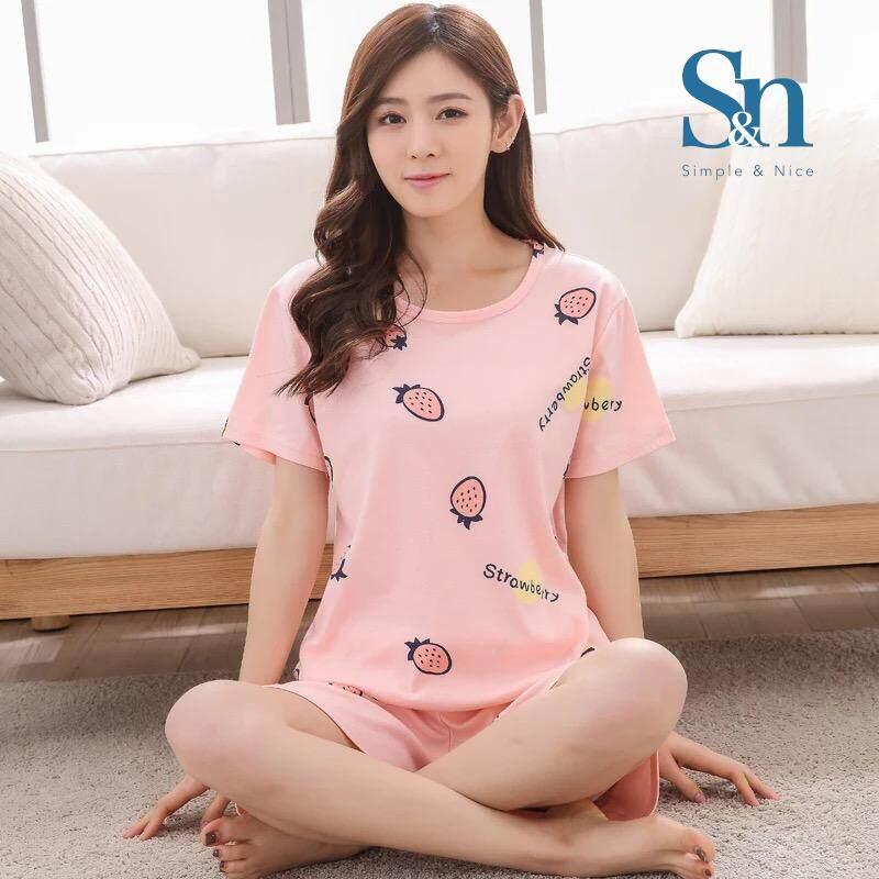 【SIMPLE & NICE】Korean Fashionista Women Strawberry Design Casual Summer Wear Set (Pink - Size: M-XXL)