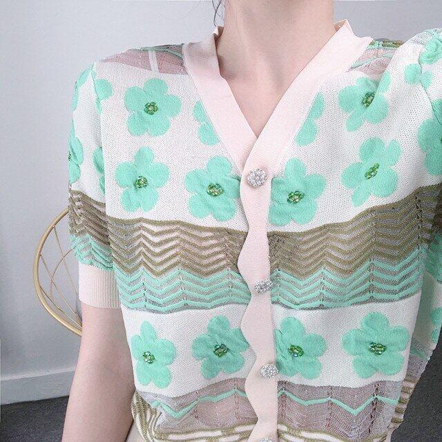 Áo Len Cardigan Dệt Kim Mỏng Lụa Băng Cổ Chữ V Mùa Hè 2021 Áo Len Nữ Dệt Hoa Ngắn Tay Mới Màu Hồng Xanh Lá Cây JD1501