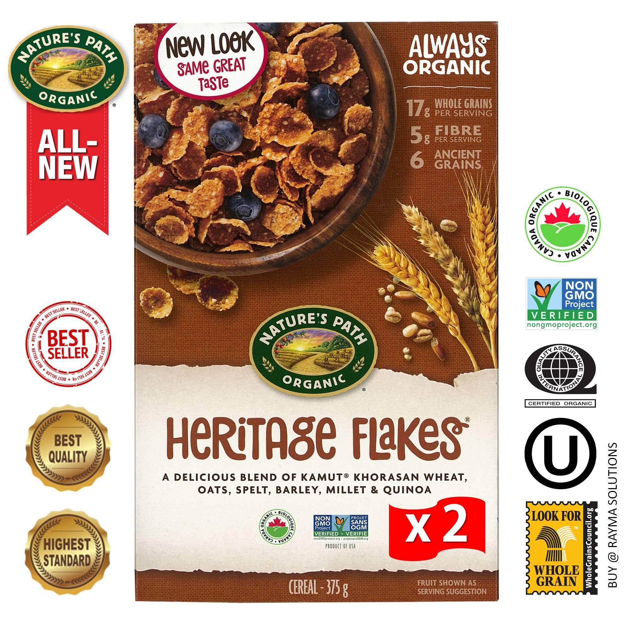 [$AVE More!] NATURE'S PATH ORGANIC Heritage Flakes, Multigrain Cereal, 375g - Twin Pack